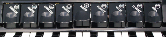 Coupler selections on a 72-bass accordion with four treble voices and full three-voice musette tuning